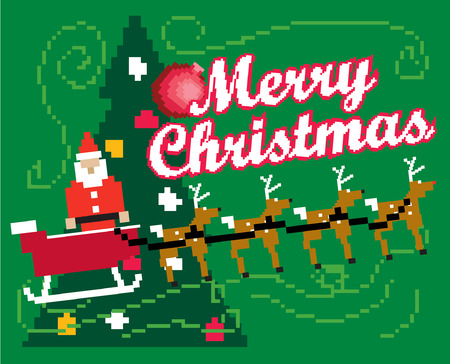 An Illustration of Santa Claus with a bag of toys infront of the christmas tree 8bit gaming style