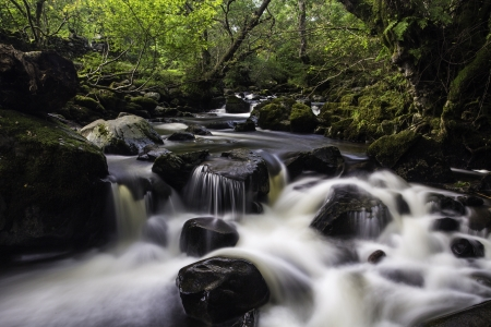 Long exposure with silky water of Aira Beck, Lake District, England flowing through woodland Stock Photo
