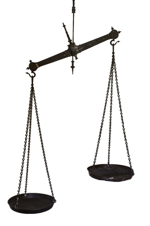 Set of hanging balance scales in black metal with a pointer to show once the pans are in equilibrium and the weights in each are equal