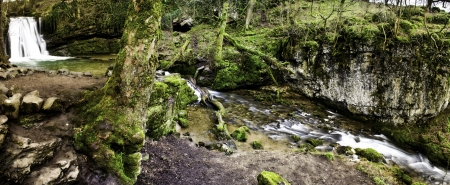 Panoramic background view of a scenic waterfall and stream flowing through lush green woodland