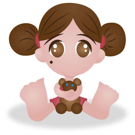 sd: Cute Little Girl With Bear Sd Vector