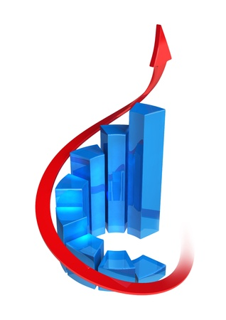 Round bar chart on white background, made in 3D software.