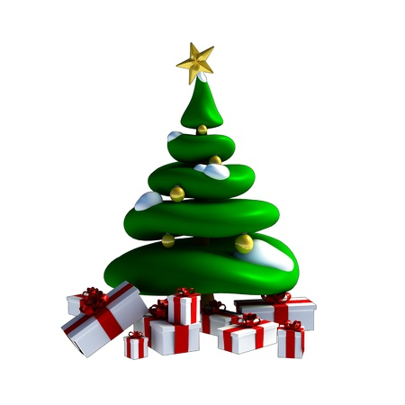 Green christmas tree made in 3D software on white background. Stock Photo