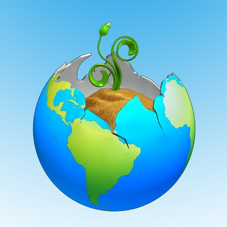 Broken earth with new plant growing out of it, made in 3D software, isolated on blue and white background. Stock Photo