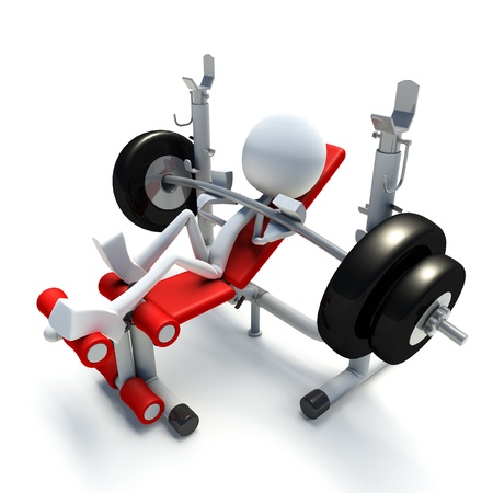 3D character doing bench press isolated on white background photo