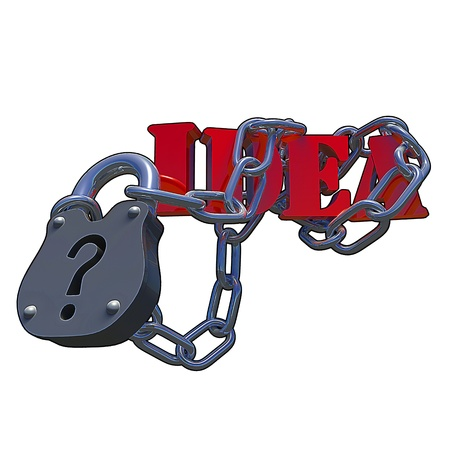 Questionmark lock with the text Idea attached to it, made in 3D software. Stock Photo