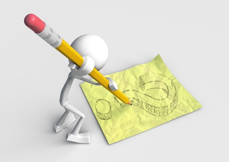 White character drawing questionmark on yellow paper, made in 3D software.