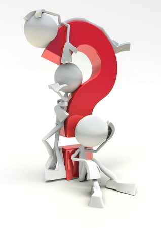 cgi: 3D  question mark with characters, isolated on white background.