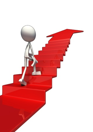 White character walking on red staircase to success, isolated on white background. photo