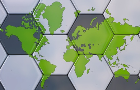 3D - Soccer texture with the world map. Stock Photo
