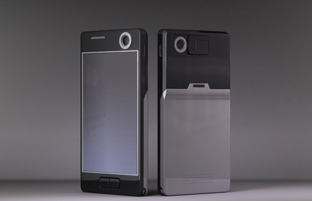 Cellphone design without copyright problems, on dark background, made in 3D software. photo