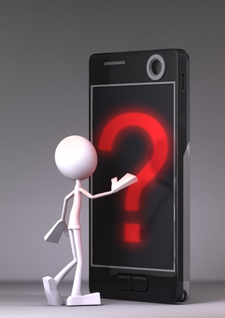 Black cellphone with red question mark, and white character on dark background Stock Photo