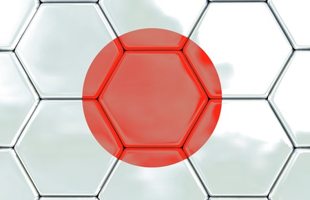Soccer texture with the japan flag, Created in 3D software,