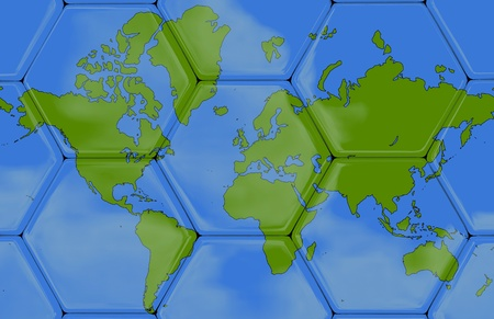 Soccer texture with the world map, Created in 3D software,  Stock Photo