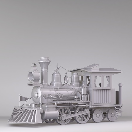 steam locomotive: 3D Classic train, black and white on a white background.