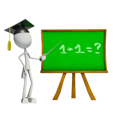 Teacher teaching with green board, made in 3D software, isolated on white background.
