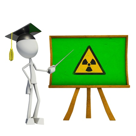 riesgo quimico: Maestro que enseña con tarjeta verde, hecha en 3D, aisladas sobre fondo blanco.