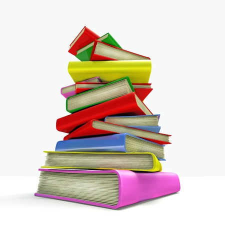 Colorful 3D books piled on isolated background