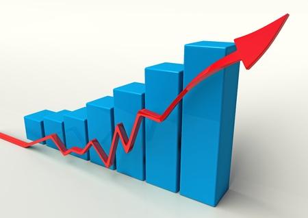 graficos de barras: azul 3D gr�fico de barras con la flecha roja sobre fondo blanco