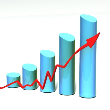 blue 3D bar chart with red arrow isolated on white background.