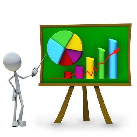 statistique: Personnages 3D bar pr�sentant graphique isol� sur fond blanc Banque d'images