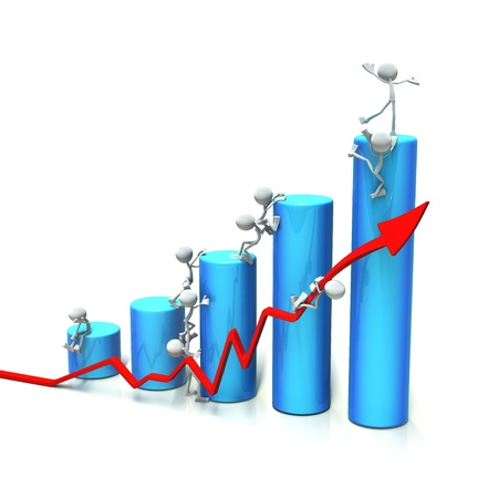 review icon: 3D characters trying to get to the top of the bar chart. isolated on white background.