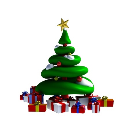 Green colorful christmas tree and presents made in 3D software. Stock Photo