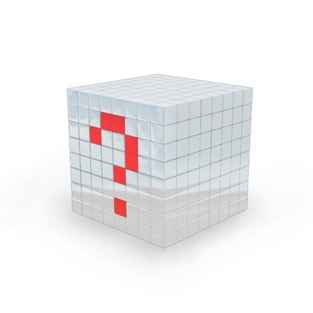 Cube with question mark made in 3D software, on white background.