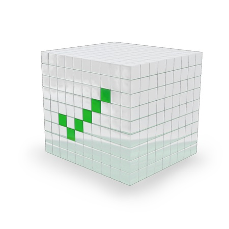 White Cube with a green ok mark on it, made in 3D software, on white background