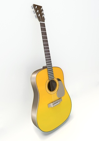 Acoustic guitar in 3d isolated on white background.
