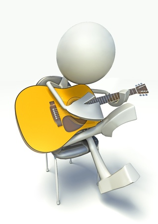 3D character playing on acoustic guitar, isolated on white background. Stock Photo