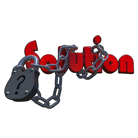 Questionmark lock with the text solution attached to it, made in 3D software.