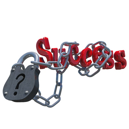 Questionmark lock with the text success attached to it, made in 3D software. photo
