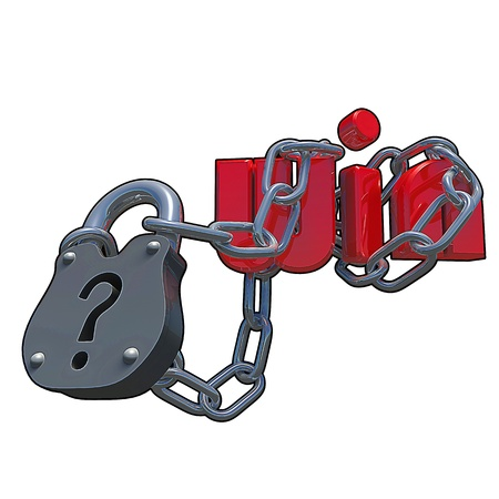Questionmark lock with the text win attached to it, made in 3D software. photo