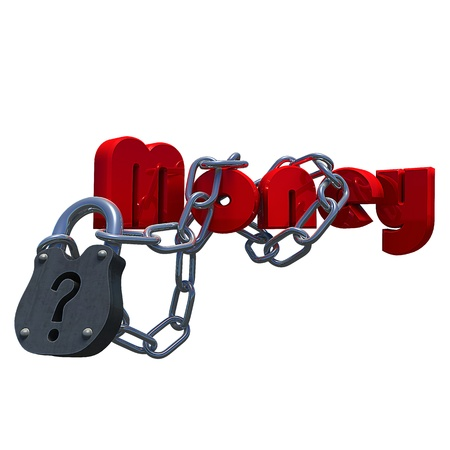 Questionmark lock with the text Money attached to it, made in 3D software. Stock Photo