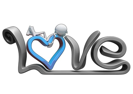 3D love text with heart, isolated on white background.