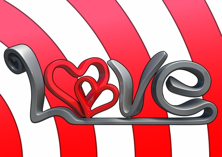 Text saying love in 3D, with background. Stock Photo