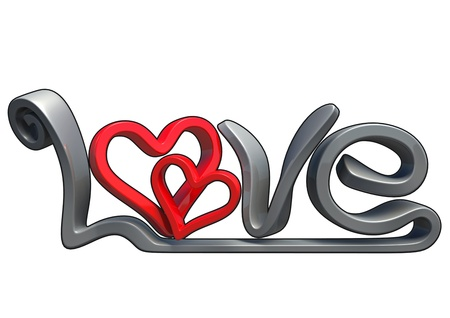 Text that says the word Love, Made in 3D software, isolated on white background, with black border.