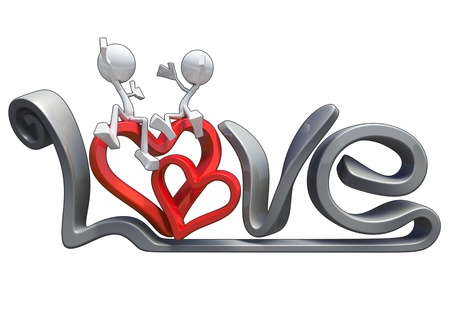 Characters hugging on the word of love, made in 3D software, isolated on white background.