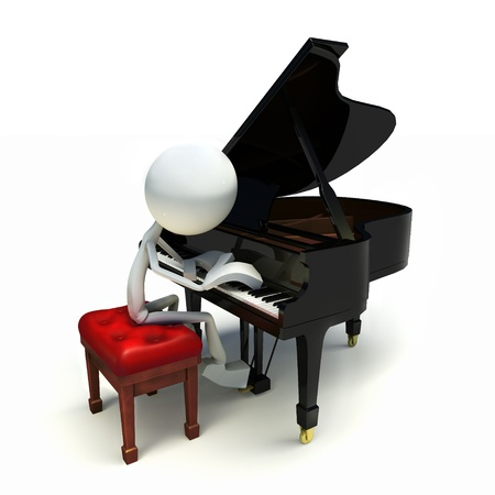 3D character playing the piano, isolated on white background