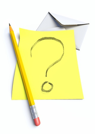 note and pen and written question mark made in 3d, isolated on white background.