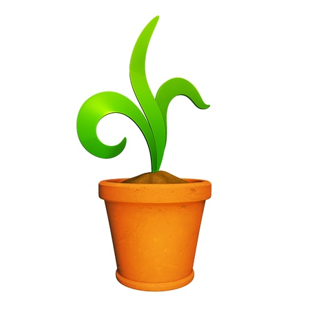 Plant in urn made in 3D software, isolated on white background.