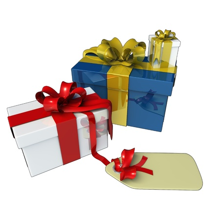 Presents for christmas or birthdays, made in 3D software. Stock Photo