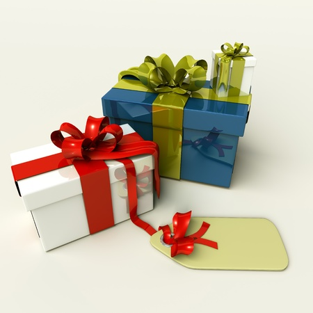 3D presents for christmas or birthdays, isolated on white background.