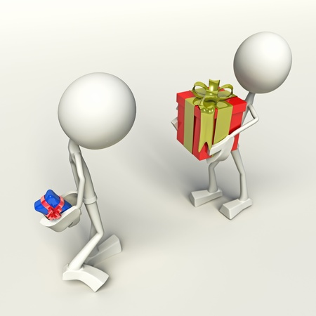 3D characters exchanging presents, isolated on white background.