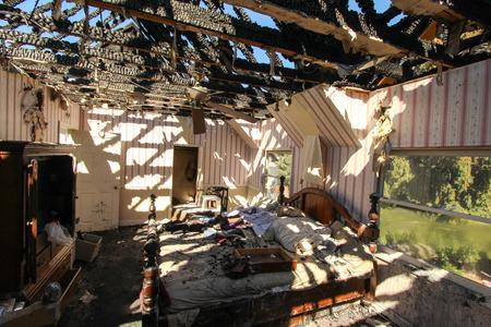 Fire Damage in Bedroom Stock fotó