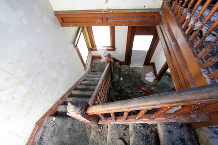 fire damage: Fire Damage in Stairway