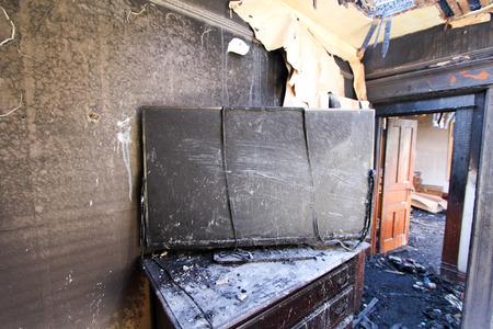 incendio casa: Fuego TV dañado