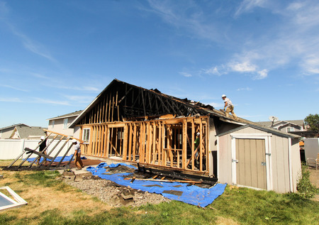 fire damage: Fire Damage Restoration Stock Photo