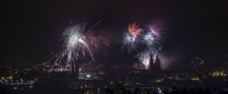 Fireworks in Santiago de Compostela, Spain, on July 25th, the day of the Apostle Saint James, patron saint of Galicia